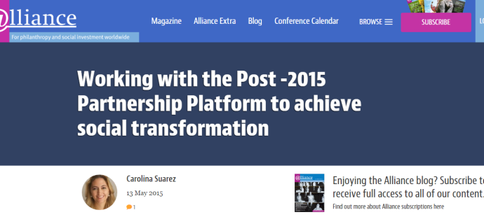 Working with the Post -2015 Partnership Platform to achieve social transformation