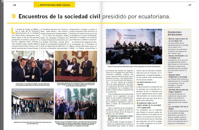 La posesión como presidenta de los Encuentros de la Sociedad Civil